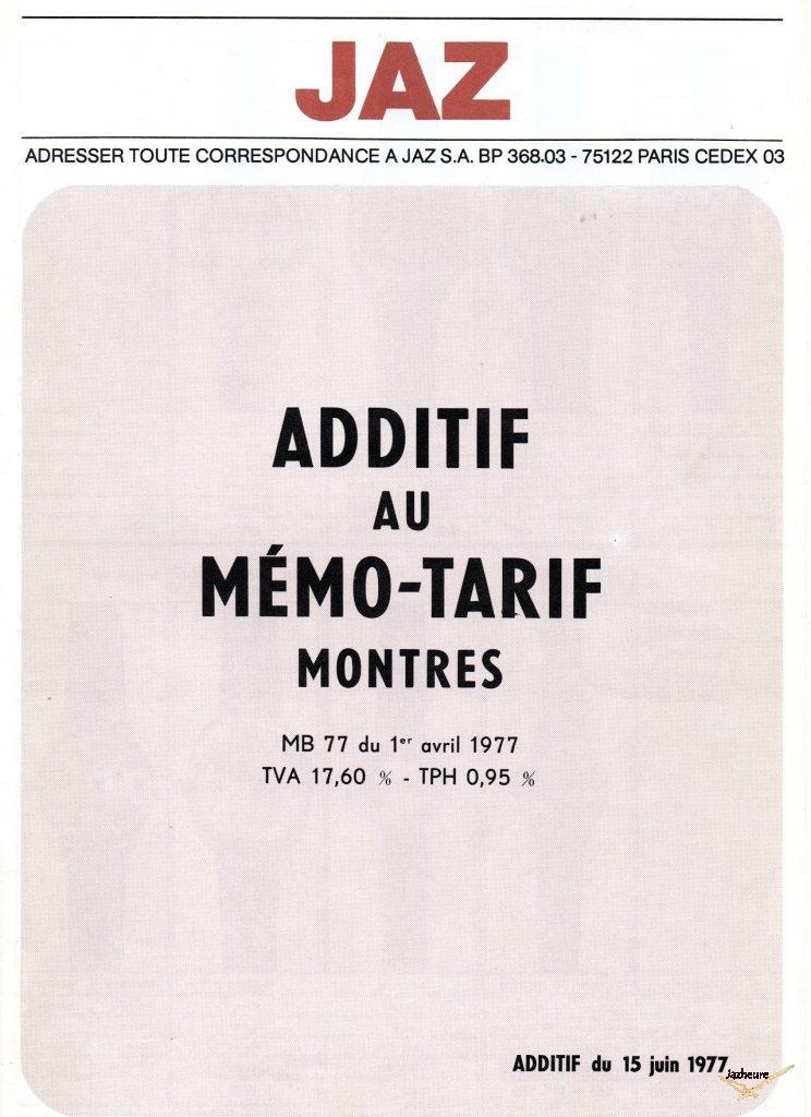 Mémo Tarifs Additif Montres Jaz avril 1977