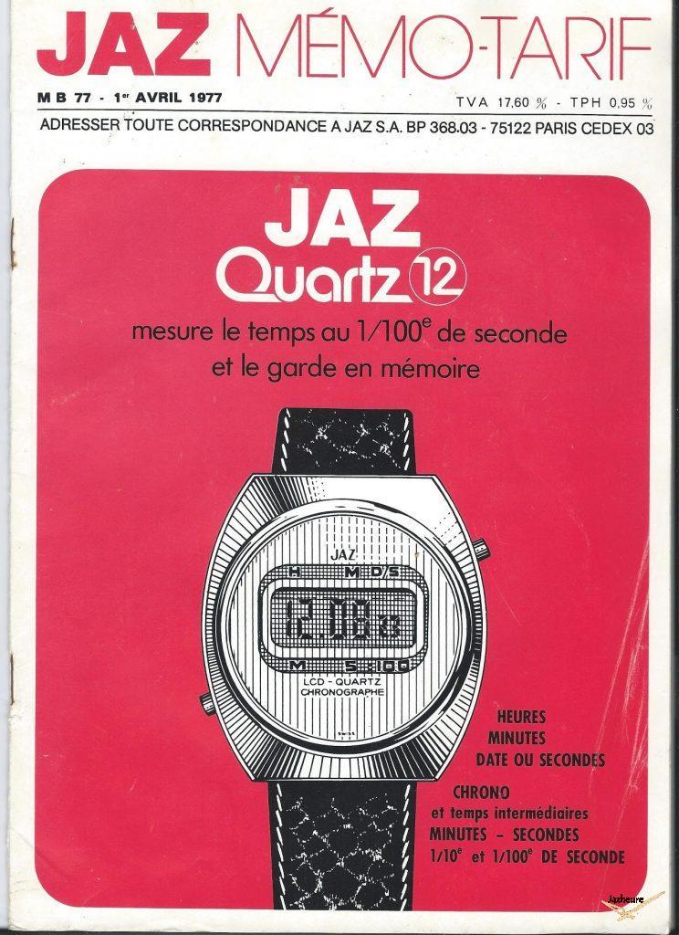 Mémo tarifs Montres Jaz 1977