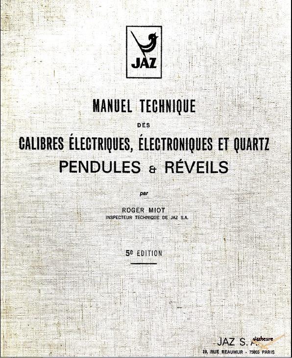 Manuel technique Jaz Pendules et réveils1979