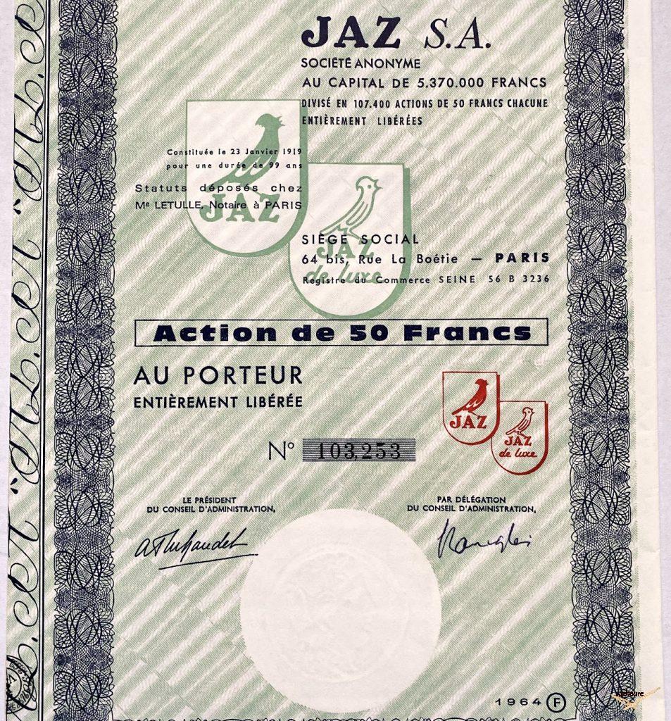 Action Jaz au porteur 50 francs