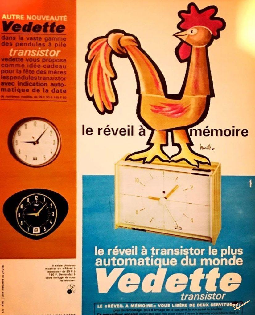 Publicité Vedette réveil à transistor (1967)