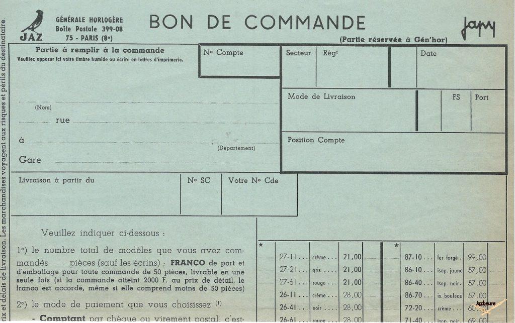 Bon de commande Jaz/Japy de Sept. 1966