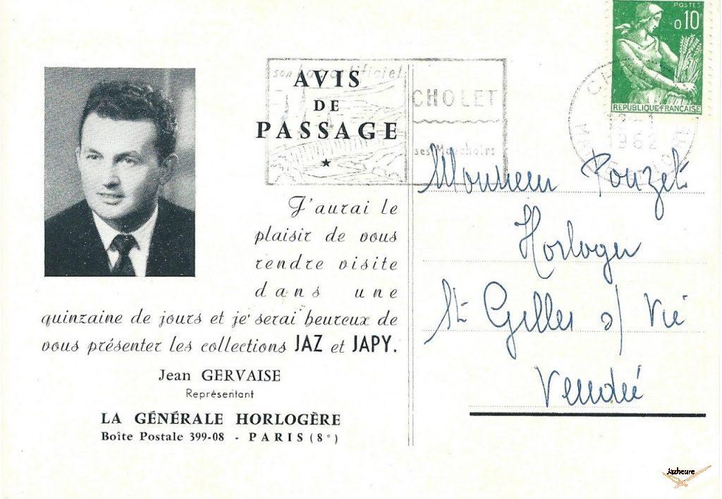 Carte postale Jaz : Avis de passage 1962