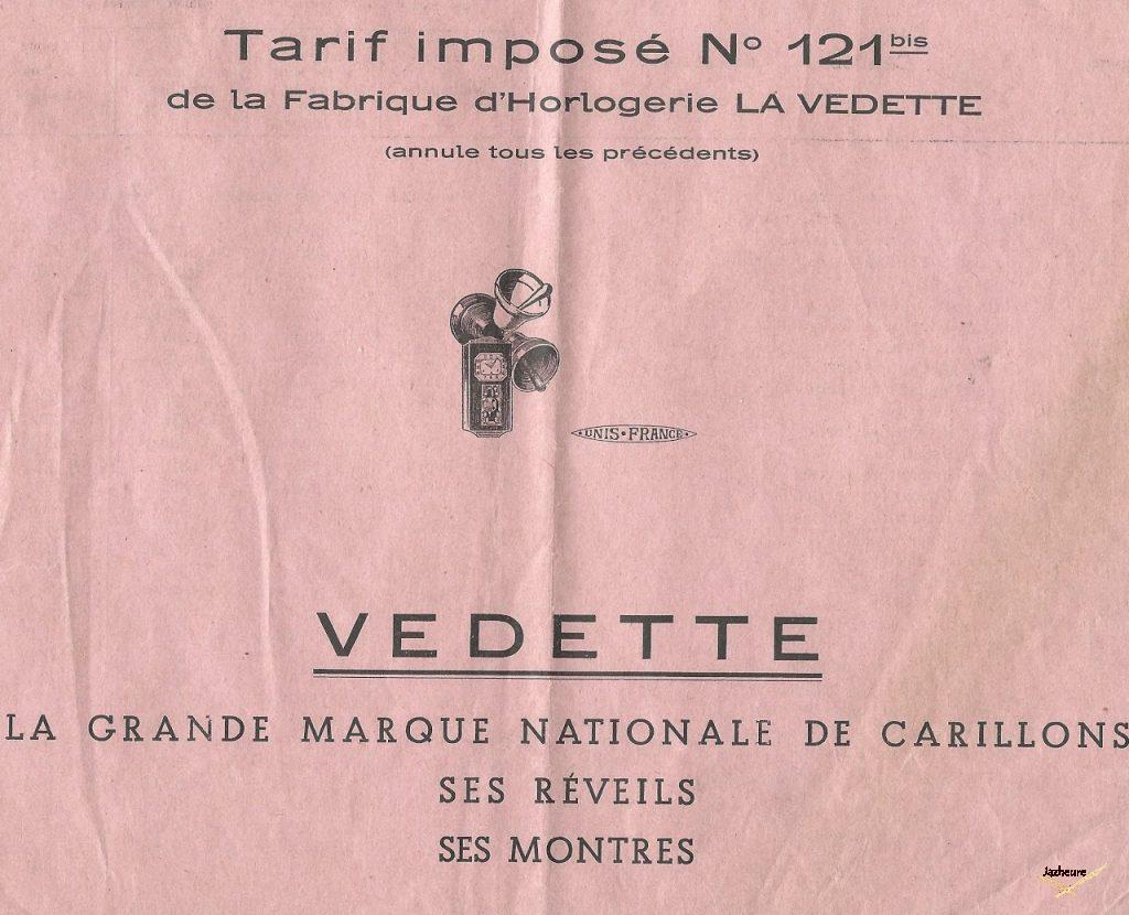 Catalogue Vedette, Carillons, réveils et montres