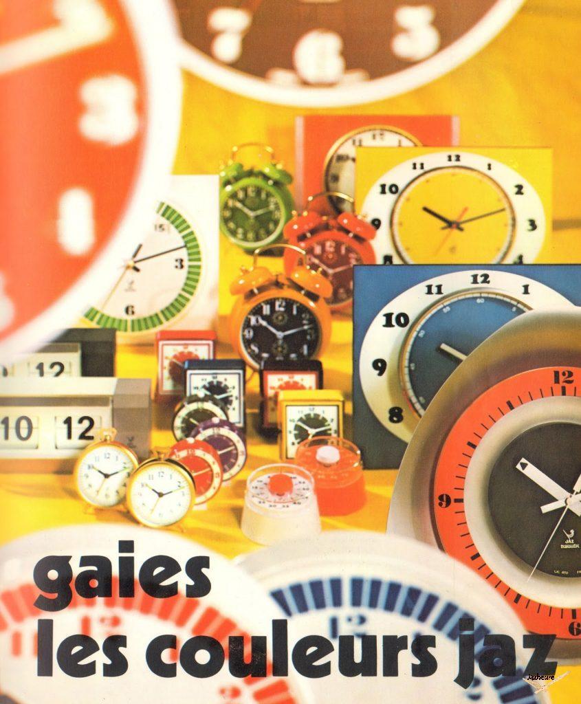 Affiche publicitaire horloges et réveils Jaz