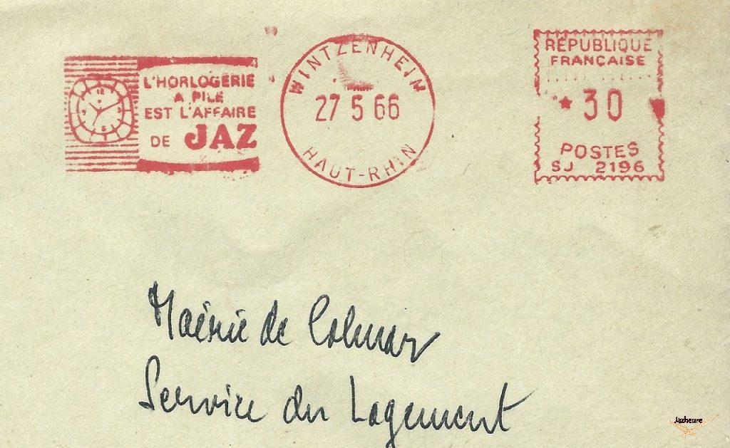 Enveloppe Jaz à l'intention de la Mairie de Colmar (27-05-66)