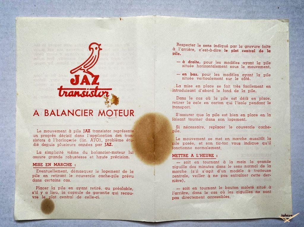Brochure Jaz l'heure à transistor année 60