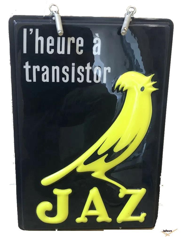 Enseigne double face Jaz L'heure à transistor