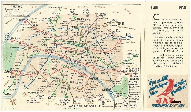 Plan de métro de Paris, RATP, JAZ 1950