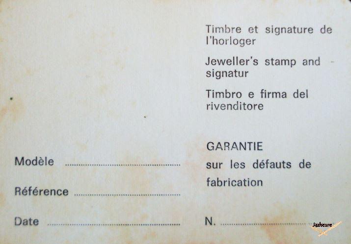 Certificat de garantie Jaz
