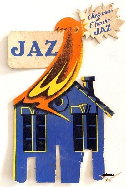 Publicité ou décoration de vitrine Jaz année 50