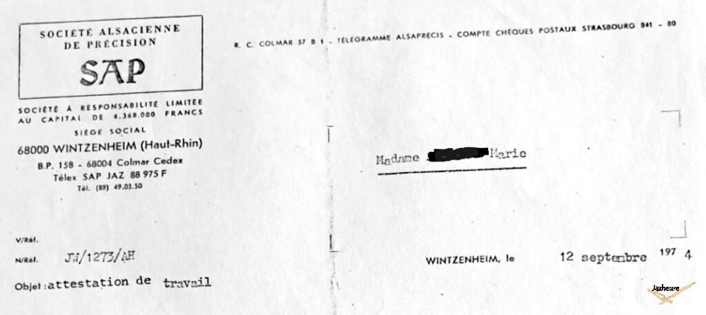 Attestion de travail Jaz SAP 1974