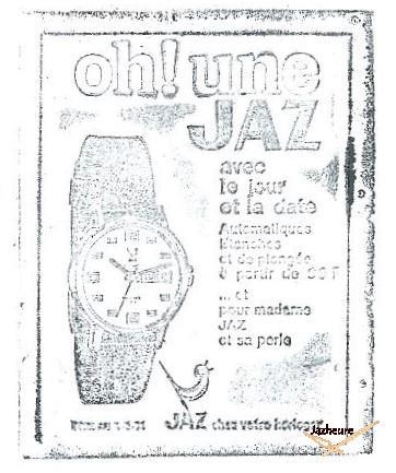 Tampon montre automatique Jaz AJ-203 de 1971-1972