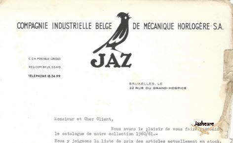 Jaz en Belgique, entête document et lettre